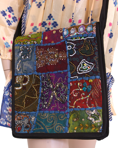 Large Moti Sari Patchwork Shoulder Bag