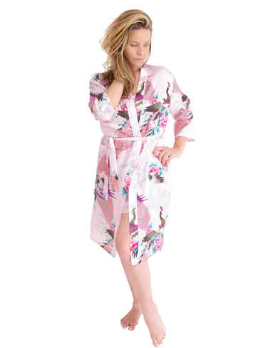 Satin Dressing Gown - Women - Nightwear - Dressing Gowns and Robes ...