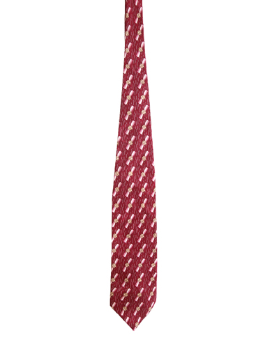 Red Silk Tie with Ribbon Design