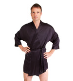 Short Silk Kimono and Boxer Shorts Set